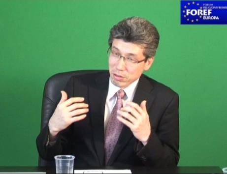Mr. Toru GOTO speaking at an interview with FOREF in Geneva 2011