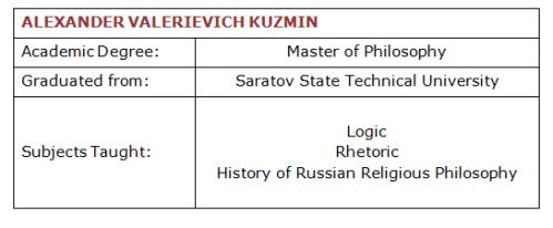 Alexander Kuzmin Academic Details