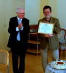 Dr. Christian Brünner recieives award of gratitude for excellent leadership in religious freedom advocacy