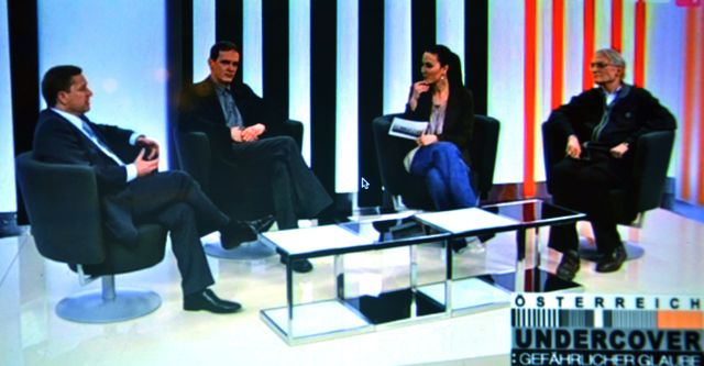 German Müller (Federal Office for Sect Issues, second person from the left) and Friedrich Griess (FECRIS/GSK, far right) are speaking at talkshow that was broadcasted on April 4, 2011. At this point, public subsidies for GSK had already been substantially curtailed.